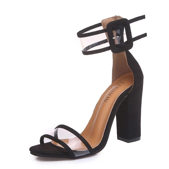 Shoes shoes women shoes for ladies Women Shoes Hollow-out buckled high-heeled sandals34-43 black 40