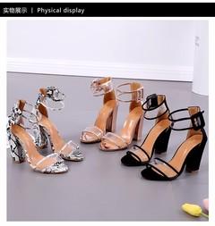 Women's heels shoes ladies shoes High-heeled shoes Show fingers Large size lady shoes 34-43 black 34