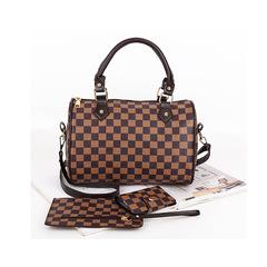 Female bag pillow bag three-piece women's single shoulder slung portable bag Wallet Alphabet package lattice 1