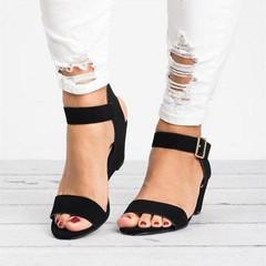 Shoes shoes women shoes heels Wedges heel sandal shoes for women fish mouth large size spot 34-43 black 34