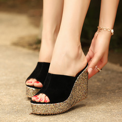 Sexy Summer Fashion lady shoes wedge heel Sandals Thick bottom Sequin lady Sandals red 36 black 35