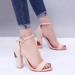 Summer Sexy Ma'am High-heeled shoes Coarse heel Retro Printing Shallow Mouth lady shoes black 39 black 35