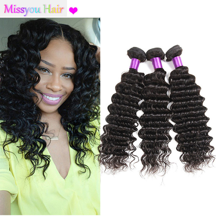 CRANBERRY Hair Deep Wave Human Hair Bundles Weave Bundles With Closure Remy Hair Extension black black 24