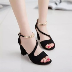 women shoes fashion women shoes heels fish mouth large size women shoes wear resistant black black 34