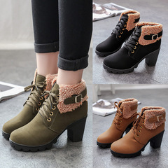 Lady Shoes Short boots Coarse heel Wear-resisting Non-slip Martin boots Short boots green 38 black 35