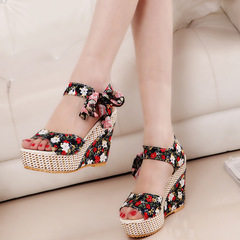 Women's Shoes High-heeled Sandals New pattern printing fashion Slope heel Fish mouth lady Sandals black 35