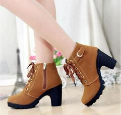 High Heels Frenulum Buckle Shoes Thick Heel Short Boot Ladies Casual Footwear yellow 38 black 35