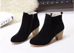 Coarse heel High Heels Frenulum Buckle Shoes Thick Heel Short Boot Ladies Casual Footwear yellow 38 black 35
