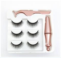 Magnet eyeliner false eyelashes Three pairs of magnetic eyeliner tweezers false eyelashes Three pairs of pink tweezers