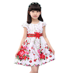 Dresses for Girls Floral Princess Dresses Children Clothings Cotton Flower Dress White 160