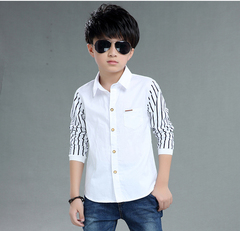 Midodo 1 Pcs Shirts For Boys Cotton Casual Children Clothes Long Sleeve Teenage School Uniform Shirt White 170