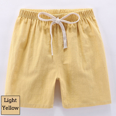 Kids Cotton Linen Shorts For Boys Children Clothing Baby Casual Pants Sportswear 2-9 Yrs light yellow 100