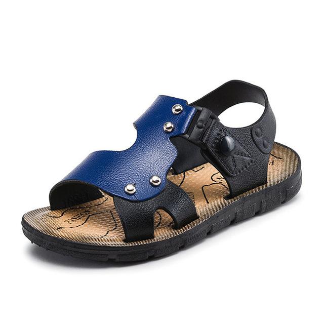 New Boys Sandals Cow Leather Beach Sandals Open Toe Children Sandals Shoes Outdoor Soft blue 20
