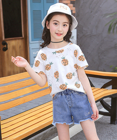 Children Clothing Sets For Girls Short Sleeve T-shirt & Shorts 2Pcs Summer Kids Outfits 3-12 Yrs orange 160