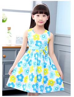 1Pcs Girls Dresses for Kids Sleeveless Floral Dress Cotton Children Print Princess Dress 4-12 Yrs light blue 140