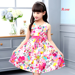 1Pcs Girls Dresses for Kids Sleeveless Floral Dress Cotton Children Print Princess Dress 4-12 Yrs rose 140