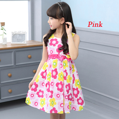 1Pcs Girls Dresses for Kids Sleeveless Floral Dress Cotton Children Print Princess Dress 4-12 Yrs pink 160