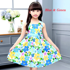 1Pcs Girls Dresses for Kids Sleeveless Floral Dress Cotton Children Print Princess Dress 4-12 Yrs blue & green 160