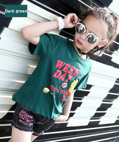 Girls T-Shirts Short Sleeve Cartoon Tees For Girls Clothing Casual Tops 2-12 Yrs Print Kids Clothes green 160