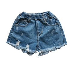 Children Denim Shorts For Girls Clothing Jeans Pants Summer Kids Trousers 4-12 Years Bottoms blue 120