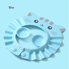 1Pcs EVA Foam Shampoo Cap Baby Shower Cap Kids Shampoo Bath Wash Hair Shield Hat Soft blue one size