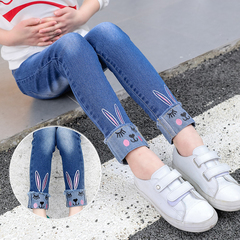 Kids Jeans For Girls Denim Pants Cartoon Skinny Jeans Children Leggings Students Trousers 2-12 Yrs rabbit jeans 160