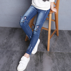 Kids Jeans For Girls Denim Pants Cartoon Skinny Jeans Children Leggings Students Trousers 2-12 Yrs cat jeans 100