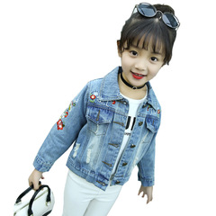 Kids Denim Jackets For Girls Clothing Embroidered Coats Casual Jeans Coats Girls Outerwear 2-12 Yrs denim blue 160
