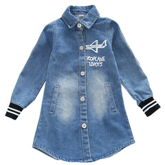 Kids  Denim Windbreaker For Girls Jacket Embroidered Denim Coats Students Outerwear 2-12 Years denim blue 170