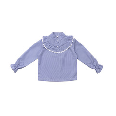 Girls Blouses Long Sleeve Striped Shirts For Baby Clothing Children Spring Autumn Kids Tops 2 -12Yrs blue stripe 110