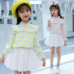 Baby Blouses For Girls Print Shirts Flower Collar Tops Spring Fall All-match Ruffled Shirts 2-12 Yrs yellow 110