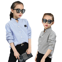 Children Striped Blouses For Girls Clothing Long Sleeve Smiling Face Shirts Baby Tops 18M-13 Yrs blue stripe 90(6)