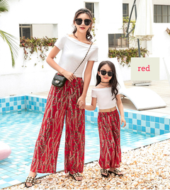 Parent-child Fashion Mom And Kids Wide Leg Pants Summer Chiffon High Waist Casual Pants red 110