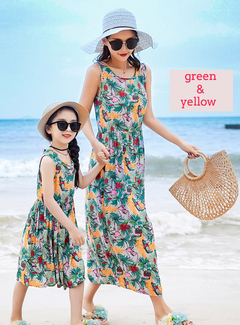 Mom And Girls Dress For Girls Bohemian Beach Dress Floral Maxi Dresses For Holiday Sundress green & yellow 110
