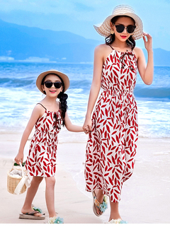 Girls Bohemian Beach Dress For Mom And Girls Dress Floral Maxi Dresses For Holiday Sundress red 110