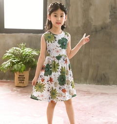 Fashion Casual Sundresses for Girls Printed Dress Baby Kids Sleeveless Bohemia Dresses 2-13 Yrs green 170