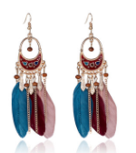 Popular sales of various ethnic style or popular long earring dreamcatcher average size