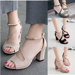 Fashion sexy fish mouth hollow sandals thick with beaded high heels female Sexy female sandals green 34