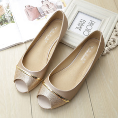 Flats New Open-toed Fishmouth Flat-soled Shoes Anti-skid Pregnant Women's Single Shoes Sandals Golden 34