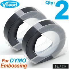 Vileed 2pcs 3D Embossing Plastic Label Tape Refills for Dymo Organizer Xpress Motex Labelmaker Maker Black 9mm