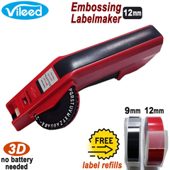Vileed Embossing Label Maker Handheld Manual Printer for Office Home Crafts DIY Replacement for Dymo black & red 12mm