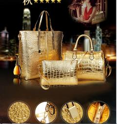Women Bag Handbag Popular bags Purse Ladies3Pcs/Set pink One size red a