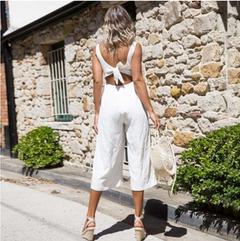2019New Fashion Women Cotton Acylic Girdle Long Dress V-Neck s white