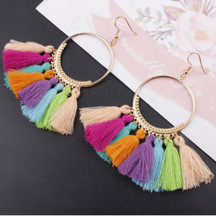 Tassel Earrings Women Big Earrings Bohemia Jewelry Trendy Cotton Rope Fringe Long Dangle Earrings R 10cm
