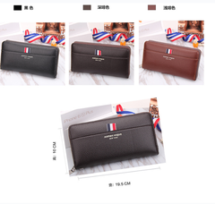 Men's Long Wallet personalized fashion leather wallet leisure quality PU wallet One Size black a