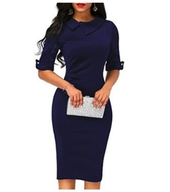 1PCS Women Ladies Solid Color Half Sleeves Elegant Office Lady Overhip Knee Length Pencil Dress s blue