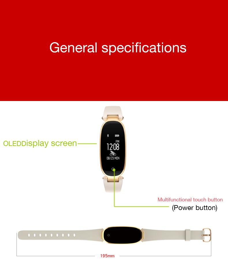 Bluetooth Waterproof S3 Smart Watch Fashion Women Ladies Heart Rate Monitor Smartwatch yellow S3 K-gold + black a 5