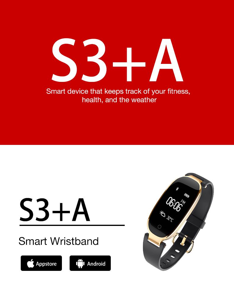 Bluetooth Waterproof S3 Smart Watch Fashion Women Ladies Heart Rate Monitor Smartwatch yellow S3 K-gold + black a 6