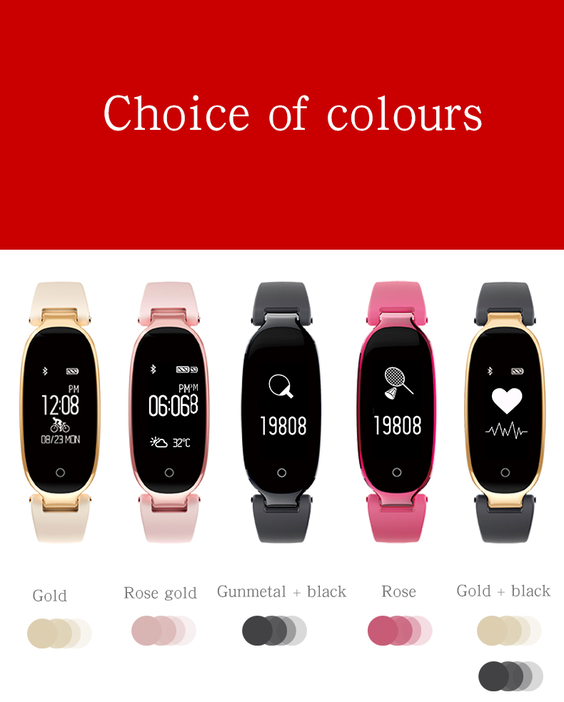 Bluetooth Waterproof S3 Smart Watch Fashion Women Ladies Heart Rate Monitor Smartwatch yellow S3 K-gold + black a 1