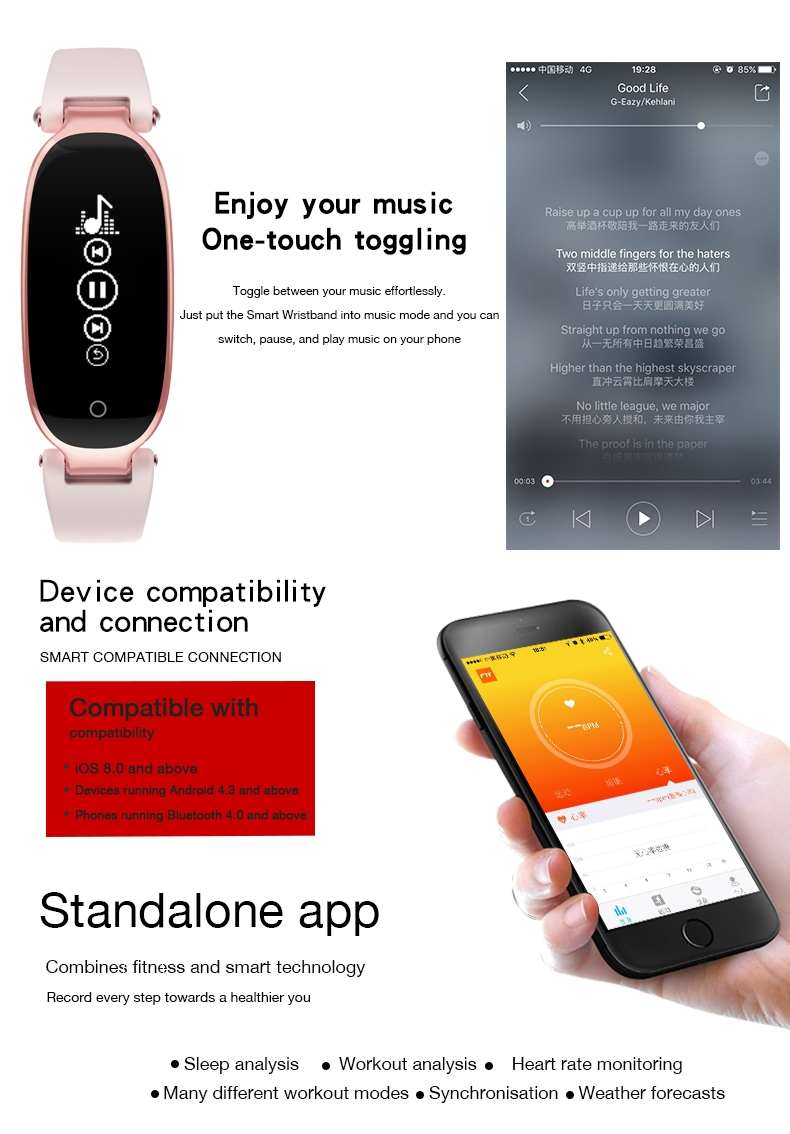 Bluetooth Waterproof S3 Smart Watch Fashion Women Ladies Heart Rate Monitor Smartwatch yellow S3 K-gold + black a 4